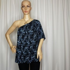 Free People one-shoulder blue combo top Large